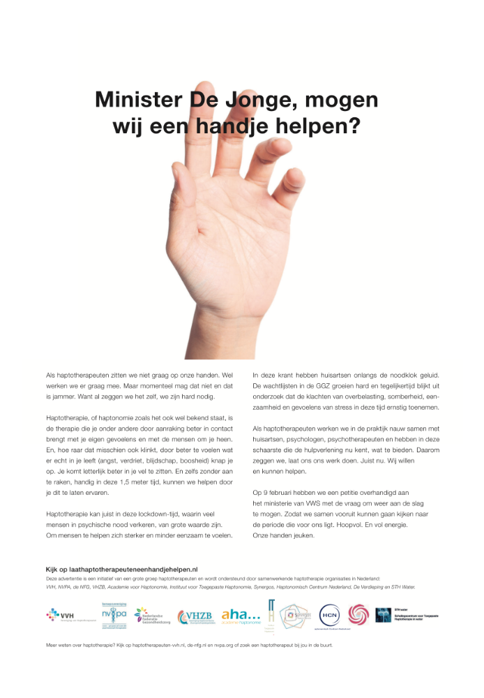advertentie in de Volkskrant